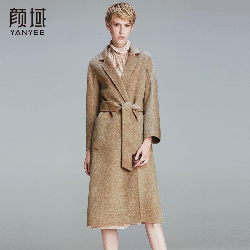 颜域品牌女装2017秋冬新款欧美品牌翻领中长款驼色双面呢羊毛大衣两侧大口袋,人性化设计