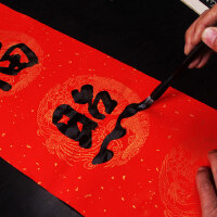 19年万年红对联春联纸加厚大红洒金春联宣纸七言空白对联宣纸