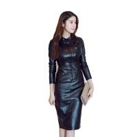 2018秋冬季新款时尚女装修身显瘦真皮裙打底加绒包臀连衣裙中长款 黑色加绒 S