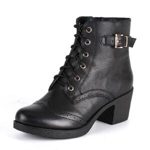 【3折到手价149.7元】星期六ST&SAT牛皮尖头低跟系带交叉绑带深口女鞋SS54112008
