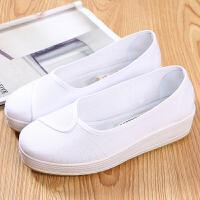 护士鞋白色坡跟厚底单鞋松糕透气浅口工作鞋懒人鞋防滑舒适女布鞋 白色