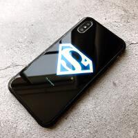 美国队长iphoneXS手机壳xs max保护套钢铁侠夜光玻璃苹果XR硬壳男 XR-6.1超人 【夜光玻璃壳】