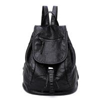 20180904182830043包包2018新款欧美软皮时尚潮流双肩包女包休闲背包两用旅行书包袋 黑色 财神包 格子