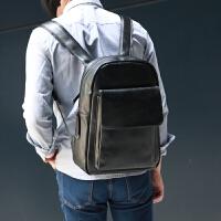 新男包韩版潮书包中学生女PU皮男士双肩包 男背包休闲旅行包 黑色