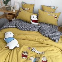 【人气】儿童卡通双层纱四件套全棉纯棉可爱被套床单上下床三件套床上用品 小黄鸭
