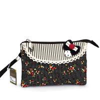 时尚碎花帆布零钱包 甜美淑女蕾丝拉链手拿包