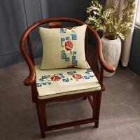 【支持礼品卡】静欣家居 红木坐垫椅子凳子垫实木太师椅座餐 椅垫中式茶椅垫圈椅坐垫防滑定做红木沙发垫海绵垫绣花系列牡丹阁