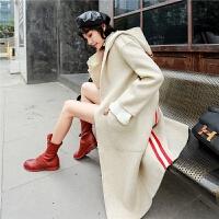 阿尔巴卡双面呢大衣女2018秋新款韩版宽松中长款连帽羊毛呢外套冬