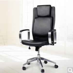 未蓝生活电脑椅家用办公休闲皮椅老板椅时尚简约人体工学旋转升降 黑色升级牛皮