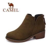 camel/骆驼女鞋 冬季新款 英伦风简约踝靴女舒适中跟后拉链短靴子