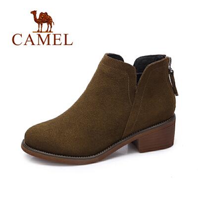 【领卷下单立减120元】camel/骆驼女鞋 冬季新款 英伦风简约踝靴女舒适中跟后拉链短靴子