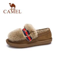 camel/骆驼女鞋 冬季新款 舒适兔毛平跟套脚单鞋英伦复古保暖毛毛鞋