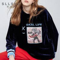 熙世界2018秋季新款圆领长袖直筒绣花长袖T恤女装 113LT004