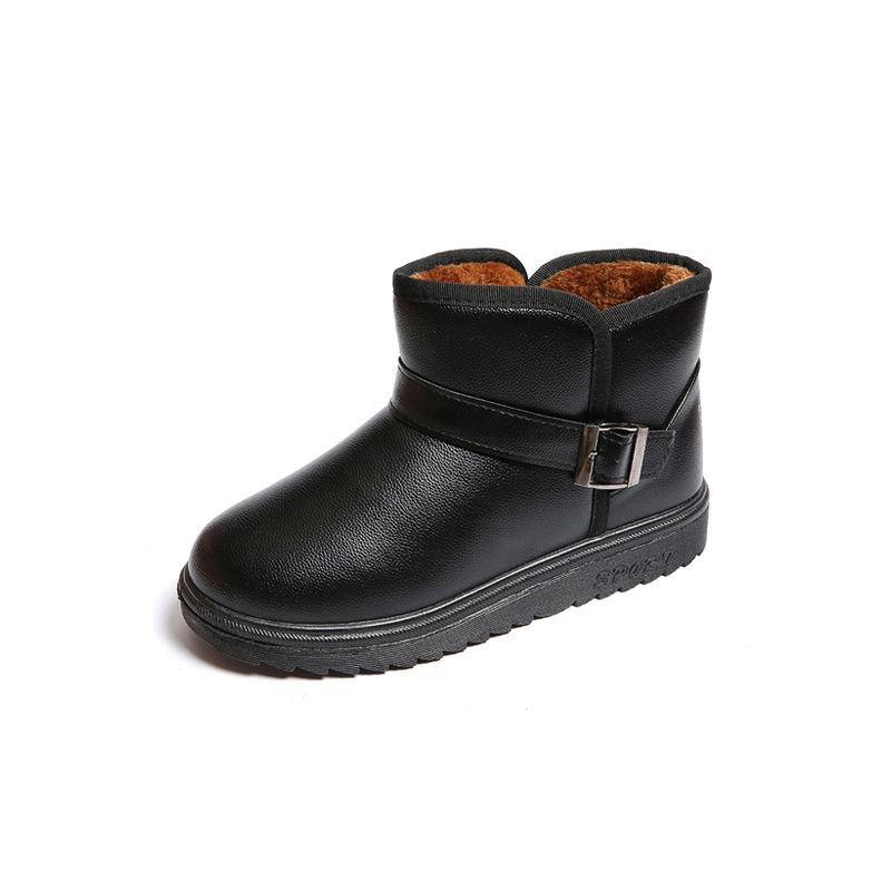 男女情侣雪地靴冬季皮面平跟男短筒女靴子保暖加绒学生棉大码女鞋