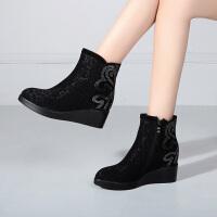 娜箐箐冬新款牛皮网纱坡跟短靴女鞋子高跟防水台休闲真皮女靴