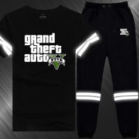 游戏周边T恤短袖套装小脚卫裤潮男士青少年学生韩版大码宽松衣服