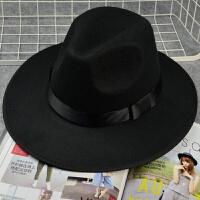 上海滩许文强复古黑色大檐英伦爵士帽礼帽男女士舞台儿童表演帽子 黑色 封面款