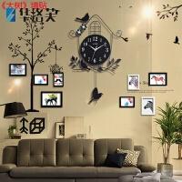 复古挂钟时钟客厅家里房间卧室内屋内理发店墙面墙上小装饰品挂件J 黑色 8相框 大树贴 其他