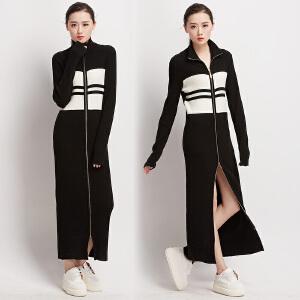 2018秋冬新款女装双开拉链黑白条纹修身针织加长款连衣裙开叉外套