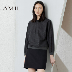 AMII[极简主义]冬新镂空拼接原身长袖暗扣呢子卫衣女11693596
