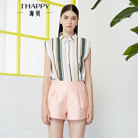 【2件5折】【3.28上新】海贝2017年夏季新款女装 复古翻领撞色条纹遮肉显瘦短袖雪纺衬衫