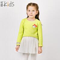 初语童装 冬季新品 女童连衣裙 长袖百搭时尚纯色连衣裙潮 T5324110032