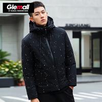 森马潮牌GLEMALL 男装羽绒服圆点印花加厚外套拉链带帽潮男冬季