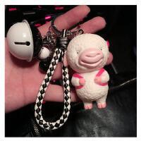 猪仔钥匙扣链圈环绳女 可爱创意铃铛男情侣公仔汽车钥匙挂件