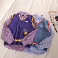 2019春季学院风软妹少女撞色针织马甲+宽松慵懒中长款条纹衬衫