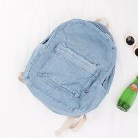 书包 文艺学院风牛仔布双肩包韩国简约背包 休闲旅行背包