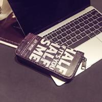 钱夹 时尚男女个性钱包 街头潮流个性中长款钱包 休闲撞色手机包 黑色字母 关注店铺礼品