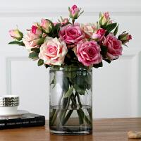 仿真花摆件防真花玫瑰花花束套装装饰花插花花艺客厅摆设绢花