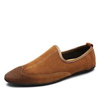 春季新款豆豆鞋磨砂皮鞋英伦尖头翻毛男士休闲鞋潮一脚蹬懒人鞋