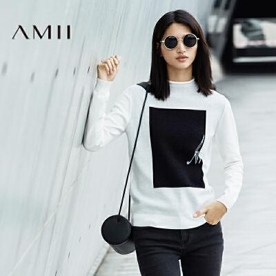 AMII[极简主义]秋新品修身半高领撞色钩织罗纹毛衣女11672932