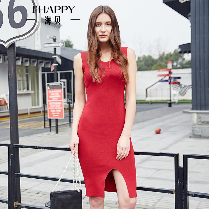 海贝2017秋季新款女装 V领性感露背开叉下摆无袖针织连衣裙