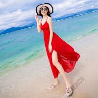 泰国巴厘岛旅游夏季女V领吊带雪纺连衣裙露背开叉沙滩裙长裙