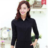 新款工作服 衬衫女 修身大码黑色衬衫女职业长袖保暖衬衫ol面试加绒衬衣女韩版