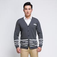 韩版男装V领针织开衫男全织时代春秋纯棉撞色条纹长袖外套薄款潮