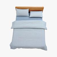 当当优品家纺 纯棉日式色织水洗棉床品 1.8米床 床笠四件套 条纹缥蓝