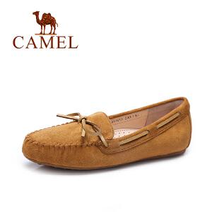 Camel/骆驼女鞋 2017秋季新款休闲百搭豆豆鞋 纯色平底单鞋