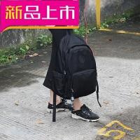 潮防水尼龙双肩背包女男USB充电旅行学生书包.寸电脑背包韩版 黑色