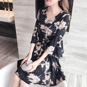 卡茗语 2017夏季新款韩版气质V领修身显瘦收腰喇叭袖印花雪纺连衣裙