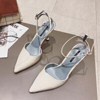 包头凉鞋女士夏季2019新款韩版百搭仙女风尖头细跟一字扣带高跟鞋夏季百搭鞋