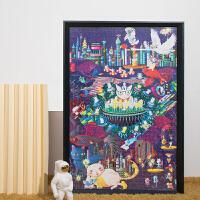 手绘平面拼图1000片手工减压玩具创意儿童益智礼物情人节