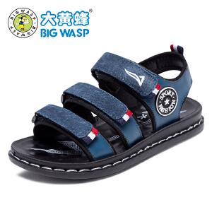 大黄蜂凉鞋 2017夏季新款儿童皮凉鞋 男童中大童夏季沙滩鞋韩版潮