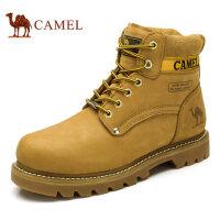 camel 骆驼男鞋秋冬真皮男靴工装靴圆头小黄靴系带高帮马丁靴