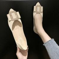 女鞋2019新款单鞋韩版粗跟低跟平底鞋女时尚尖头浅口套脚单鞋女潮