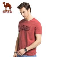骆驼男装2017时尚植绒印花纯棉圆领新款青年休闲夏季短袖T恤衫男