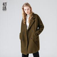 初语秋装新款纯色呢子大衣 oversized茧型双排扣中长款毛呢外套女
