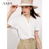 【2件3折125元,再叠90/70/30元礼券】Amii极简气质小衫V领雪纺衫2021夏新款荷叶边白色衬衫女短袖上衣